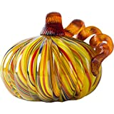 Glitzhome 4.21 Inch Hand Blown Rainbow Striped Glass Pumpkin Table Accent for Fall Harvest Decorating for Mother