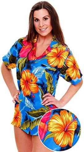 Funky Hawaiian Blouse Women Short-Sleeve Front-Pocket Big Flower Multiple Colors