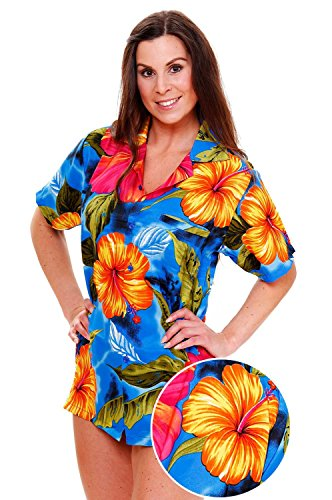 Funky Hawaiian Blouse, Big Flower, light blue, M - Light Blue Funky Flower
