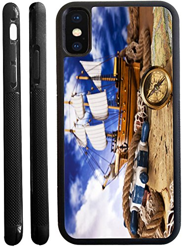 Rikki Knight Nautical Navigation On Blue Sky Design iPhone X hybrid TPU Case Cover (Black Rubber with front bumper protection) for iphone X - Black Box Navigation