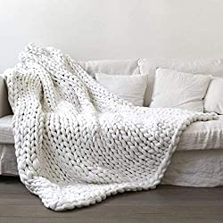 "Yijiujiuer Chunky Knit Blanket Giant Throw Merino Wool Yarn Hand Made Bed Sofa Chair Mat (White 32""x40"")"