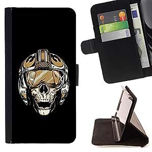 BullDog Case - FOR/HTC DESIRE 816 / - / Skull Pilot /- Monedero de cuero de la PU Llevar cubierta de la caja con el ID Credit Card Slots Flip funda de cuer