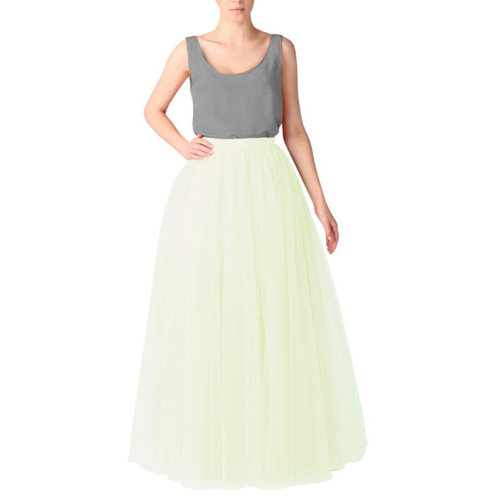 Yellowsih Green WDPL Women's Long Floor Length 5 Layer Bridal Tulle Skirt