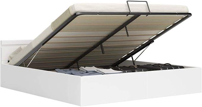 vidaXL Cama Canapé Hidráulica con LED Cuero Sintético Somier Decoración Interior Resistente Robusta Duradera Práctica Cómoda Útil Blanco 180x200cm