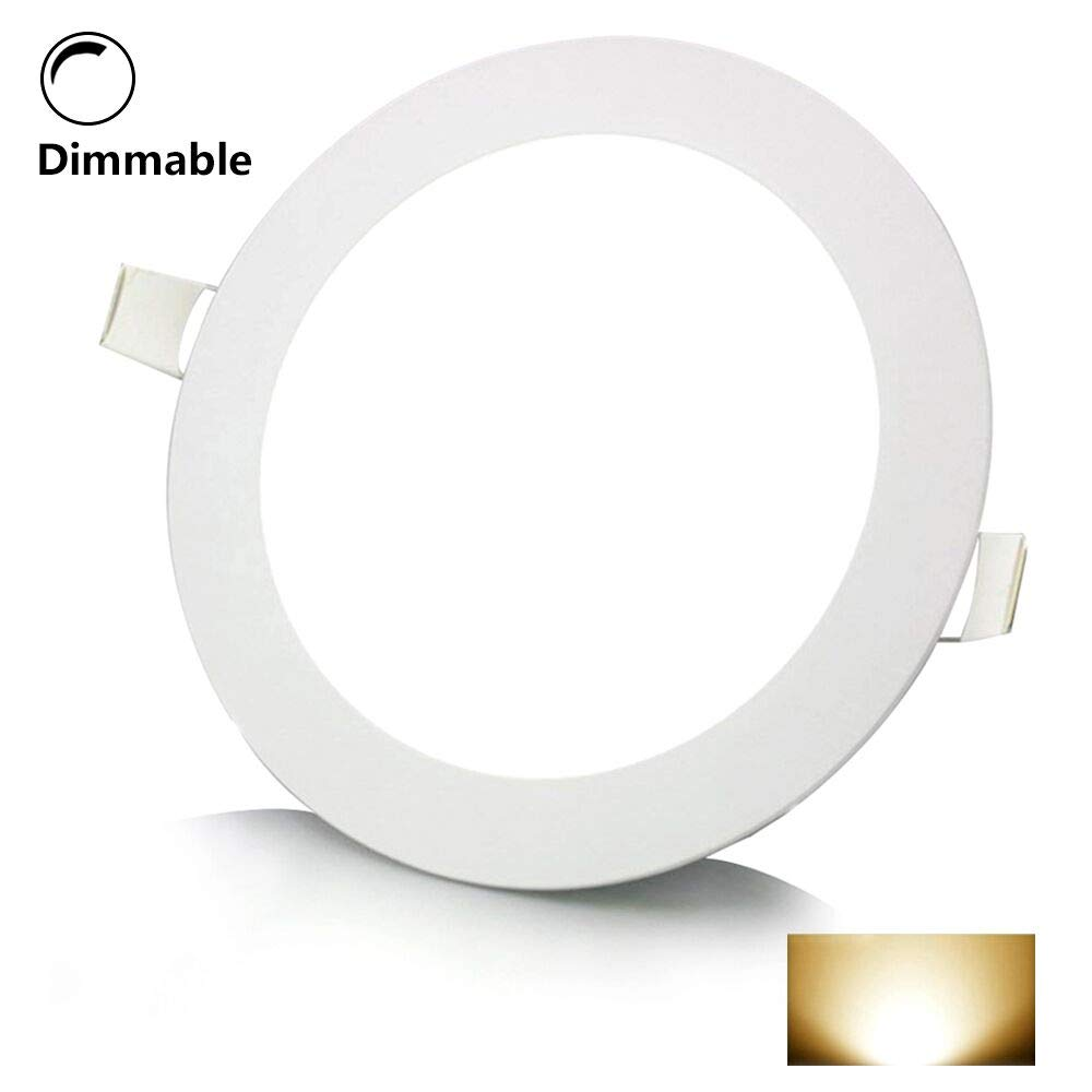 12W 6 Inch Dimmable Flat LED Recessed Light,Round Ultra-Thin LED Panel Downlight,960lm Warm White 3000K Anti-Fog Panel Ceiling Lighting LED Driver for Office, Home, Hotel