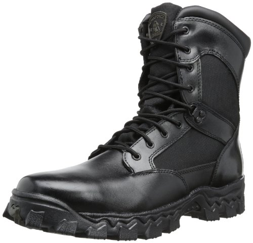 Rocky Men's Alpha Force 8 Inch Side Zip Work Boot,Black,14 W US (Alpha Boot Leather)