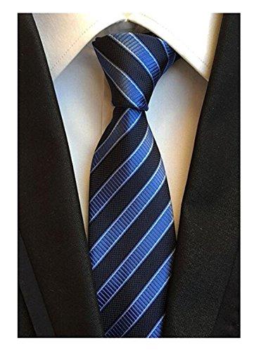 DEITP Men's Classic Blue Black Stripe Jacquard Woven Silk Tie Formal Party Suit ()