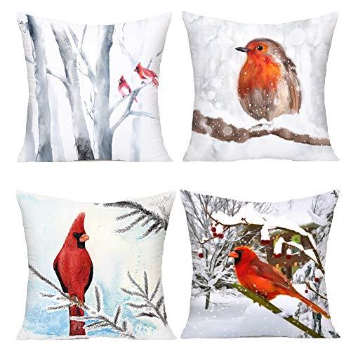 Royalours Pillow Covers Cardinal Snow Branch Pattern Super Soft Throw Pillow Case Cushion Cover Home Sofa Winter Red Bird Decorative Pillowcase 18 X 18 Inches (Winter Bird2)