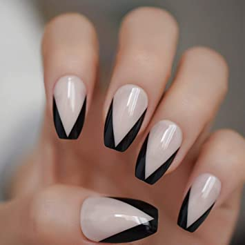 Coolnail Ballerina Nail Art Tips Beige Nude Black French False Coffin Nails Art Tips Flat Shape Full Cover Manicure Press On Fake Nail