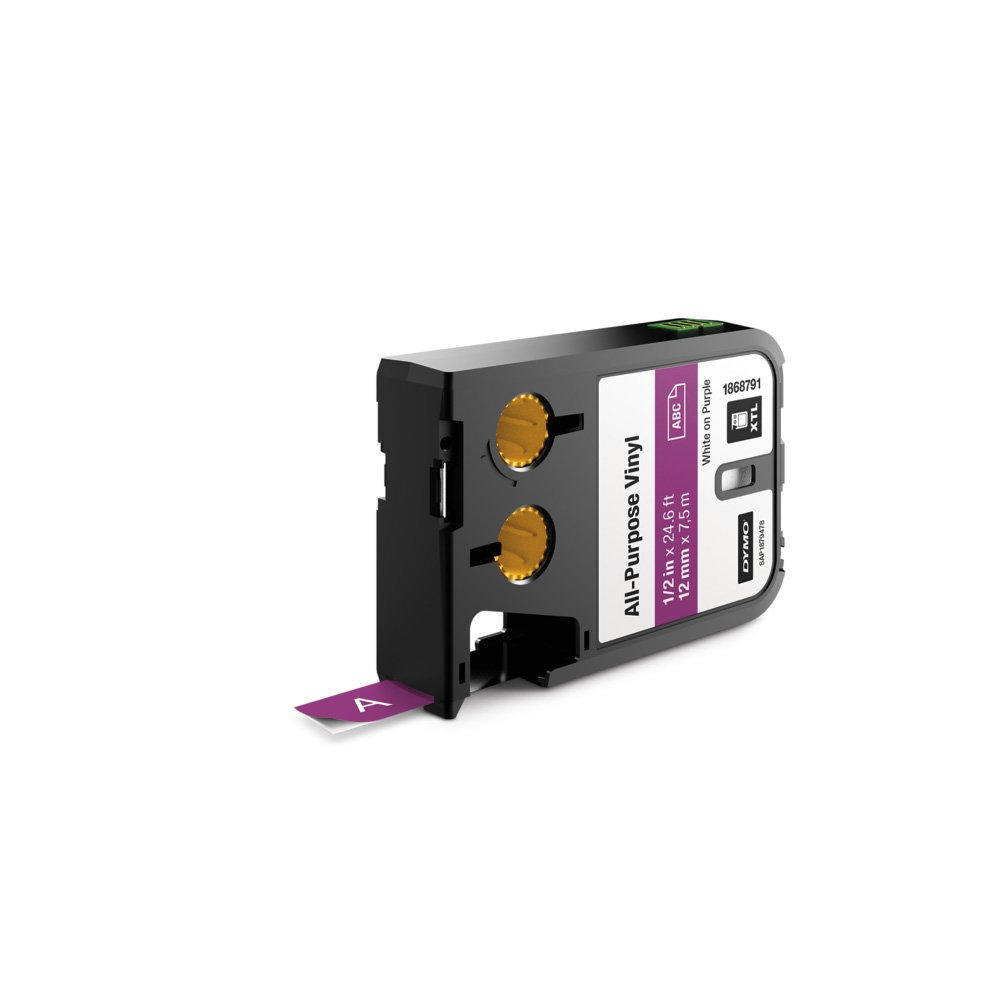 DYMO All-Purpose Labels for DYMO XTL Label Makers, White on Purple, 1/2'', 1 Roll (1868791)