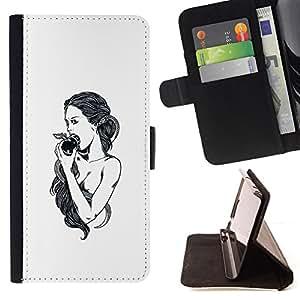 """For HTC One A9,S-type Manzana Eva Dios Eden Blanco Negro"""" - Dibujo PU billetera de cuero Funda Case Caso de la piel de la bolsa protectora"""