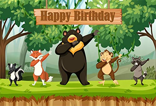 AOFOTO 5x3ft Polyester Happy Birthday Backdrop Animal Performance Hip-Hop Rock Foxes Bear Monkey Green Grasssland Trees Photography Kids Bday Portrait Shooting Background Customized Photo Booth Prop ()