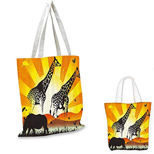 African canvas messenger bag Wildlife Animal with Giraffe on Nature Walk and Mammal Retro Graphic Print canvas beach bag Orange Yellow Black. 16