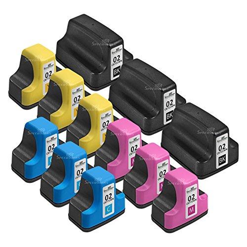 Hp 12 Yellow Inkjet (Speedy Inks - 12PK Remanufactured Replacement for HP 02: 3 Black C8721WN, 3ea Cyan C8771WN, Magenta C8772WN, Yellow C8773WN Ink Cartridge Set)