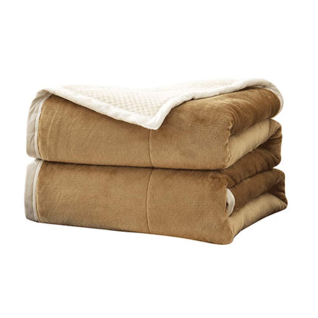 JIANXIN 冬には毛布、柔らかく快適な毛布、二重毛布、暖かい毛布、寝具、ぬいぐるみソリッドブランケット (色 : キャメル, サイズ さいず : 180cm*200cm) B07HNZ444M