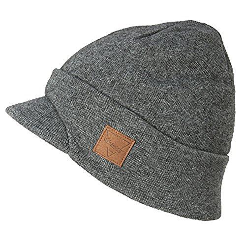 SIGGI Mens Winter Jeep Beanie Hat Cap Wool Knit with Visor Bill for Women Guys Grey XL Large (Climbing Wool Beanie)