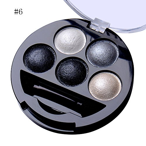 5 Colors Pigment Eyeshadow Palette Eye Shadow Powder Metallic Shimmer Makeup Beauty Professional Make Up Warm Color Waterproof #6
