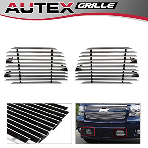 (AUTEX 2pcs Tow Hook Bumper Billet Grille Insert Compatible with 2007-2014 Chevy Tahoe, 2007-2014 Chevy Avalanche Suburban Aluminum Polished C66467A)