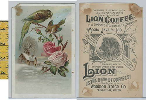 - Victorian Card, 1890's, Woolson Spice, Lion Coffee, Rose, Birds, Snow Cabin