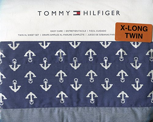 Tommy Hilfiger Navy and White Anchors Twin Extra-long Sheet Set