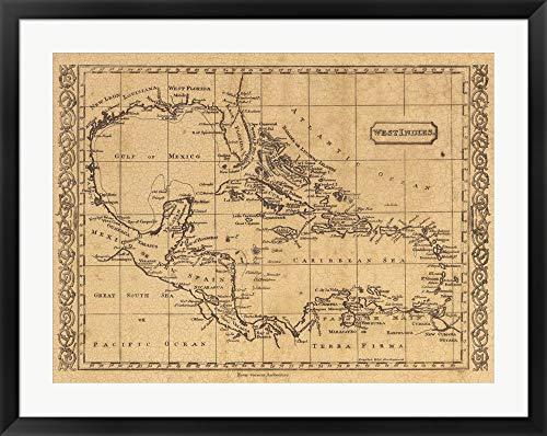 West Indies, 1806 Framed Art Print Wall Picture, Black Frame, 36 x 29 inches