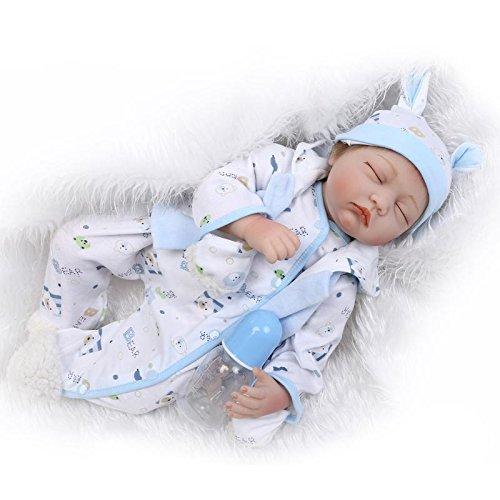 Nicery Reborn Puppe, 55 cm, hartes Silikon, für Kindergeburtstage, Weiß / Blau