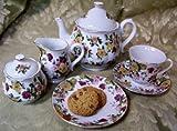 11 Piece Fine China Chintz Full Size Tea Set - Includes Tea Pot, Teacups, Sugar & Creamer and Plates