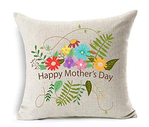 Bnitoam Happy Mother 's Day Great woman mom Cotton Linen Square Decorative Throw Pillow Case Cushion Cover 18inchs (25) - Mothers Day Pillow