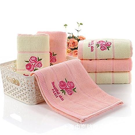 XXIN Toalla Flor Rosa 32 Comparte Jacquard Bordadas Toalla Gruesa Rosa Pink 34 * 74: Amazon.es: Hogar