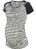Jezero Maternity Baseball Crew Neck TopsFlattering Side Ruching Pregnancy T-Shirt