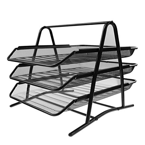 Woffice 3-Trays Mesh Desk Organizer, Desktop File Holder, Office Supplies Letter Tray, Desktop Storage Rack, Black