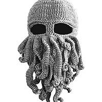 Bear boys Octopus Beanie Hat For Men Winter Warm Skiing Biking Costume Squid Mask (Gray)