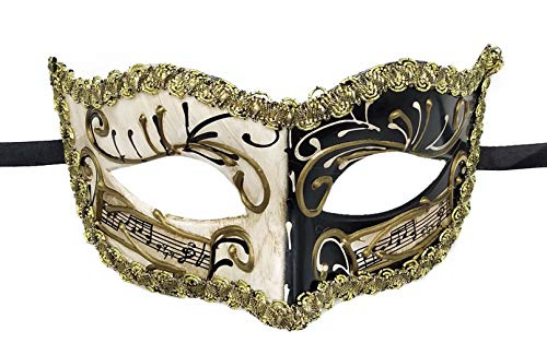 Biruil Masquerade Mask Venetian Costume Prom Party Mardi Gras Face Halloween Ball Mask (B Black) -