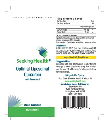 51x9fqUb1jL - Optimal Liposomal Curcumin | Liposomal Tumeric | Provides 200 mg Curcumin with 75 mg Resveratrol | Non-GMO | Non-Soy | Allergen-Free | Physician Formulated | Seeking Health
