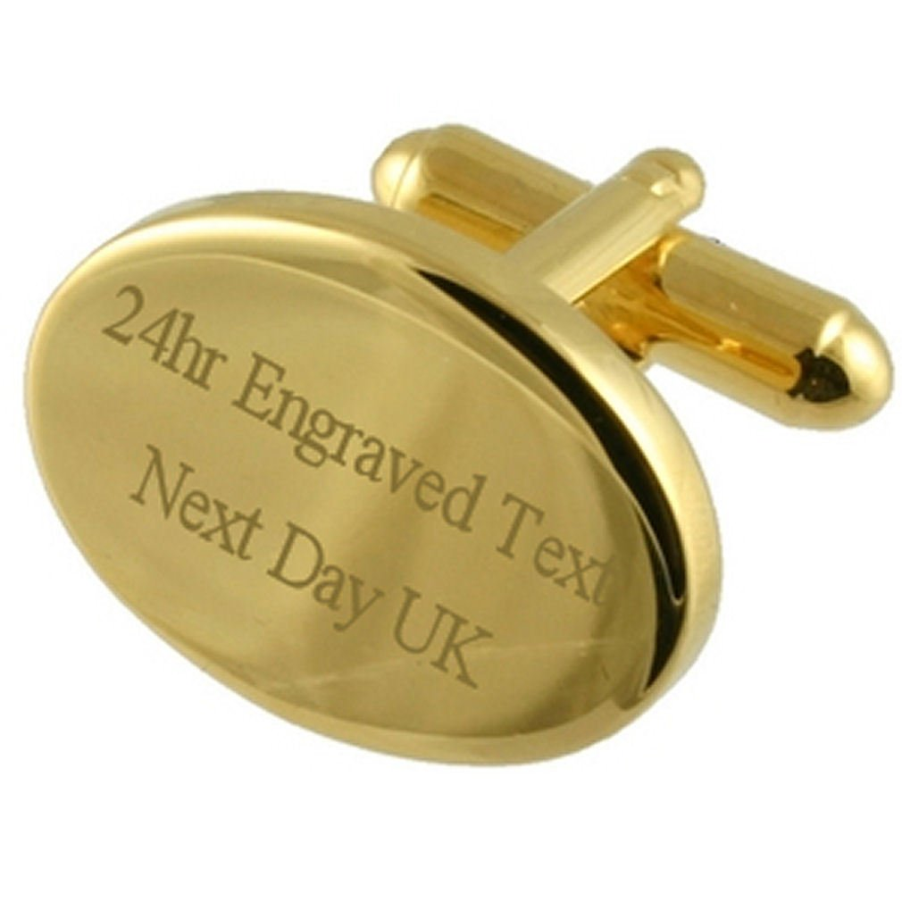 Select Gifts Engraved Gold-Tone Oval Cufflinks in Message Box