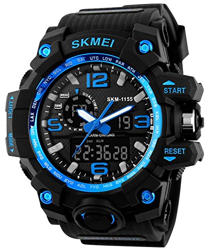 PASOY Men's Military Swiming Waterproof Rubber Band Analog Digital Chronograph Alarm Sport Quartz Watches