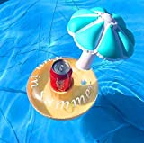 Extpro Inflatable Drink Holder 3 Pack Flamingo & 3 Pack Umbrella Floating Pool Toy Tray for Swimming Pool Beach Party(Set of 6)