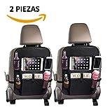 Organizador para asiento trasero de automóvil - 6 compartimientos, ideal para accesorios de viaje, tablets, bebidas y juguetes, Paquete con 2