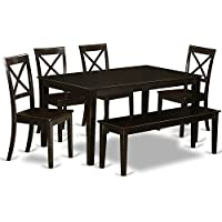 East West Furniture CABO6S-CAP-W 6 PC Dining Room Table Set-Kitchen Table & 4 Chairs & 1 Benches