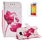 Funyye Strap Magnetic Flip Case for Samsung Galaxy S7,Elegant 3D Red Rose Fantasy Painted Design Folio Wallet Pocket with Stand Credit Card Holder Slots Soft Silicone PU Leather Case for Samsung Galaxy S7,Full Body Shockproof Non Slip Smart Durable Shell Protective Case for Samsung Galaxy S7 + 1 x Free Screen Protector