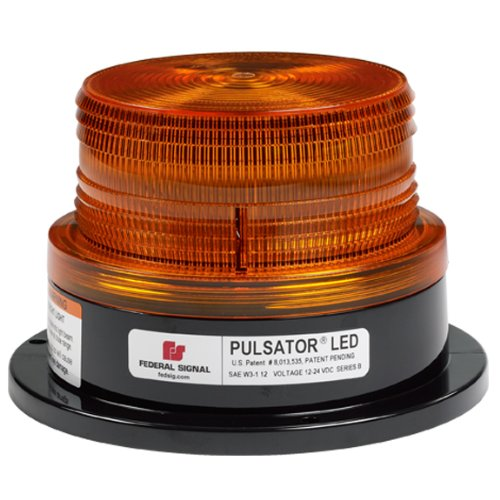 Federal Signal 212670-02SB Pulsator 451 LED Beacon, Class 2, Permanent Mount with Short Amber Dome