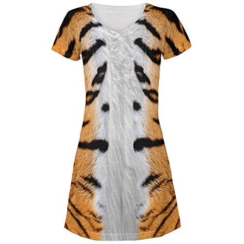[Halloween Tiger Costume All Over Juniors V-Neck Dress - Large] (Cute Tiger Costumes Women)