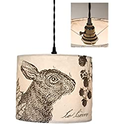 Rustic Hare Canvas Pendant Lamp
