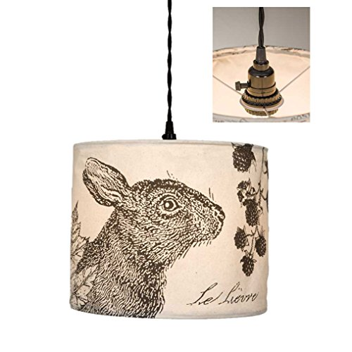 Rustic Hare Canvas Pendant Lamp