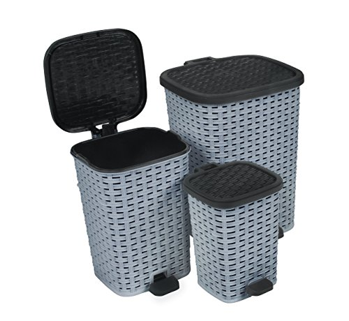 Rattan (Wicker Style) Trash Can - 3 Size Set - 1.6 Gal. / 3.1 Gal. / 6.8 Gal. (Grey and (Rattan Step Basket)
