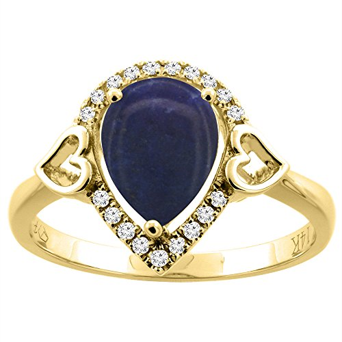 14K Yellow Gold Natural Lapis Ring Pear Shape 9x7 mm Diamond Accents, size 8 14k Yellow Gold Lapis Ring