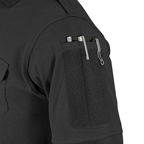 HAZARD 4 APR-QDLEO-BLK-L Quickdry Leo Battle Polo Tactical Velcro-Arm-Patch/Chest Pockets Breathable Shirt, Large, Large, Black