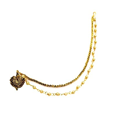 Buy Harita Gold Plated Nose Ring With Double Chain Nath Nose Pin For Women Gold Colour Hmn S32g At Amazon In