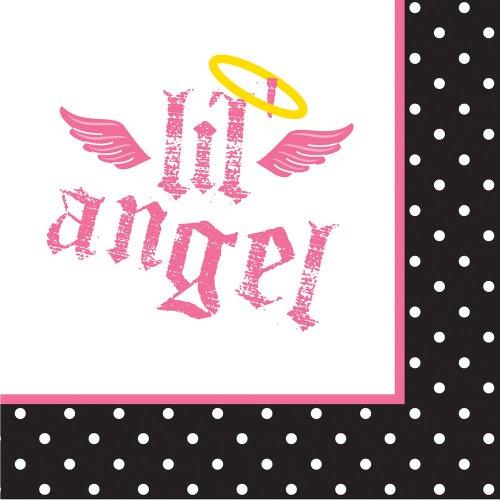 16-Count Paper Beverage Napkins, Angel Birthday