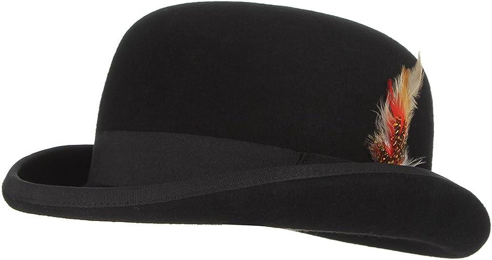 GEMVIE Herren Melone Hut Zylinder Hut Herren Magic Partyh/üte Erwachsenenhut Damen Zauberhut mit Feder Verstellbar